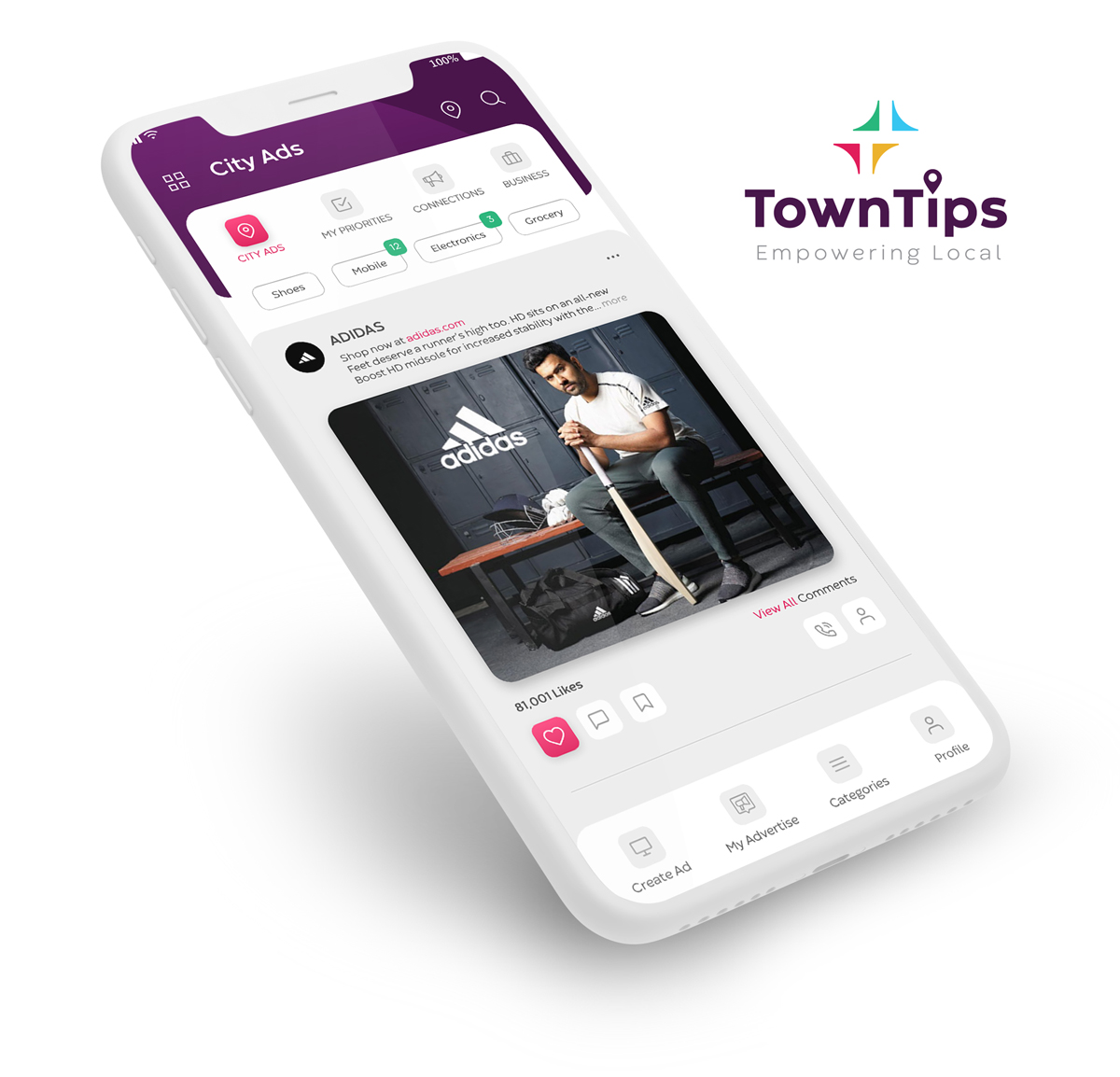 Towntips mobile app - Developed by Code A Sea